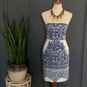 j crew jacquard print blue and white dress